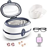 PREUP Jewellery Cleaner, Ultrasonic Cleaner Ultra Sonic Bath with Cleaning Basket - Stainless Steel Tank & Digital Timer…