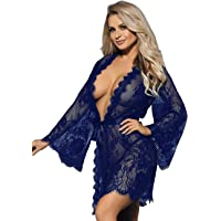 ohyeahlady Womens Sexy Lingerie Set Plus Size Babydoll Nightwear Kimono Dressing Gown Lace Robe Transparent Nightdresses…