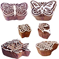Mehndi Wood Blocks Abstract Butterfly Fish Shape Printing Stamps (Set of 6)
