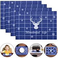 Silicone Non-Slip Deer Placemats Washable Table Mats Heat Resistant Place Mats, Insulation Table Place Mats for Dining Room, Countertop Protector, Pastry Baking Mat Sheet, 42 x 30 cm (Set of 4, Blue)