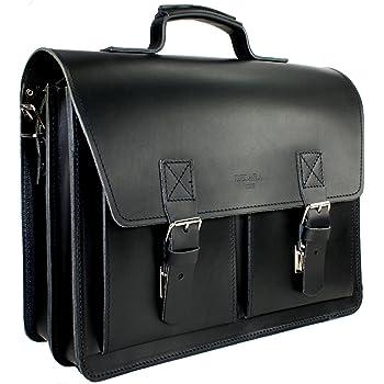 DELARA serviette en cuir - Bauhaus-Style - avec bandoulière et épaulette - Fabriqué en Allemagne, coleur: Noir