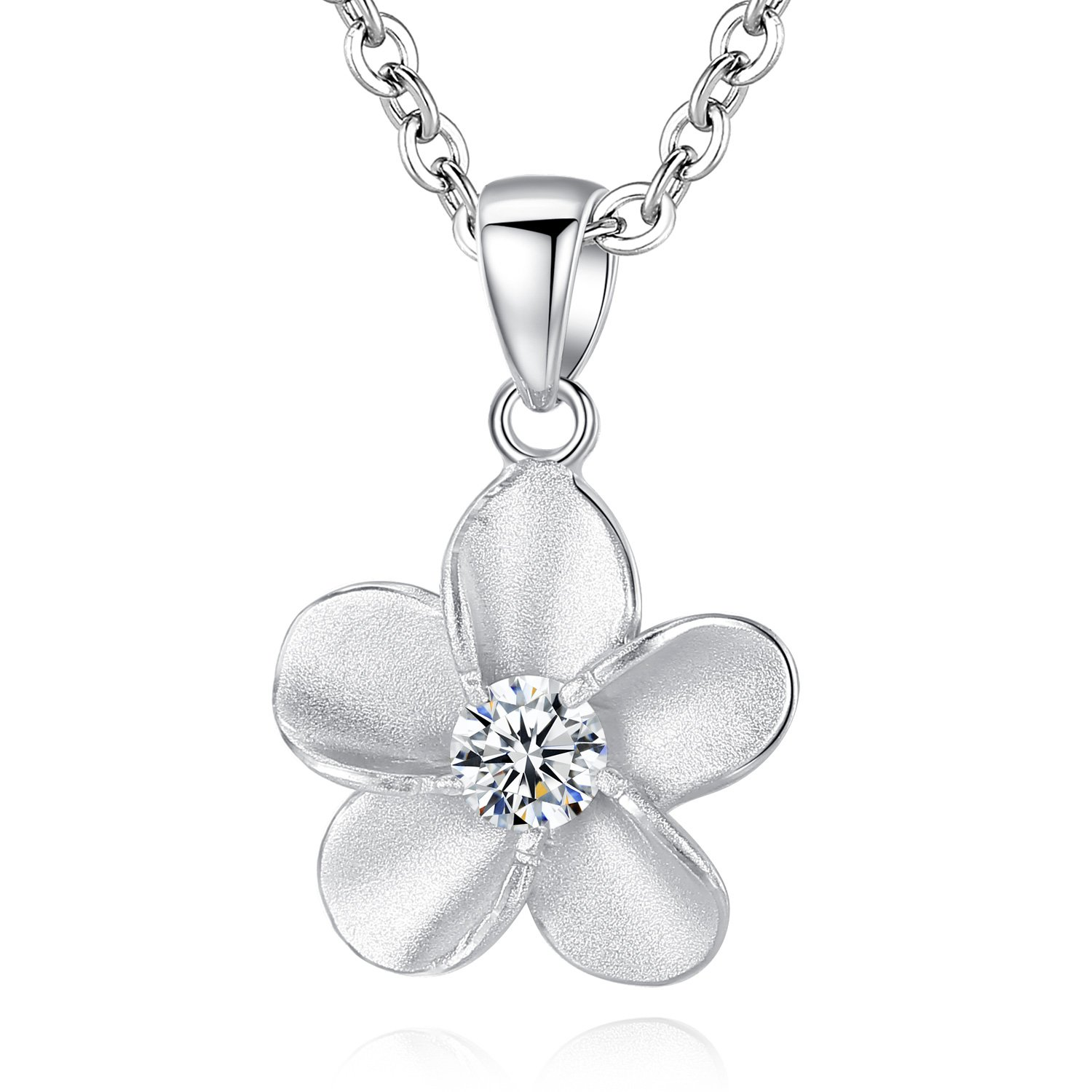 MON MEILL Fashion Jewelry Plumeria Flower 18k Gold Plated Cubic Zirconia Pendant Necklace for Women and Girls