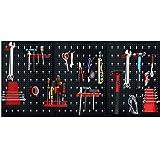 HENGMEI Gereedschapswand gereedschapswand van metaal met 17-delig hakenset 120 x 60 x 2 cm gatenwand voor werkplaats