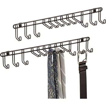 fc3e571b8083 mDesign patere – porte-cravates pratique ou porte-ceinture en métal à  monter sur