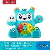Fisher-Price Mon Ami Rocki robot interactif jouet sons et lumières pour apprendre à bébé les lettres et les formes, 6 mois et plus, version française, FXD01