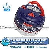 FOGEEK Lanterne de Camping à Del, Mini Lampe Rechargeable Portable, réserve de Puissance 5200mAh, veilleuse, éclairage de Secours, résistant à l'eau et au feu, Base magnétique, 5 Modes d'éclairage