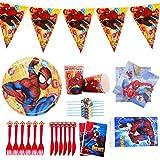 Ensemble Vaisselle Fête, Ensemble de Vaisselle de Fête Spiderman 48 Pièces - Pour Anniversaire DA'enfant - Décoration de Tabl