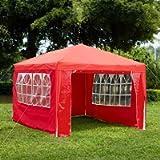 Garden Vida Gazebo with Side Panels 3x4m Marquee Zip Up Party Tent Outdoor Garden Canopy Waterproof with Wind Bar, Red