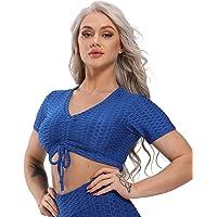 STARBILD Women Honeycomb Textured Short Sleeve Tie Up Crop Top