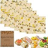E-More Beeswax Wraps Set van 6, Natuurlijke Eco-vriendelijke Herbruikbare Wax Wraps, Duurzame Kunststof Gratis Voedselopslag,