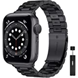 LIWIN 42mm 44mm Metal Strap Compatible with Apple Watch Series 6/5/4/3/2/1 SE, Stainless Steel Band Replacement Strap Adjusta