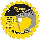 1 x SCCSF184CR24 SabreCut 184 mm 24T x 16 mm borr cirkulär sågblad för Dewalt Makita Milwaukee Ryobi och många andra