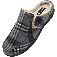ONCAI Pantofole Uomo Invernali Plaid Ciabatte con Pelo da Uomo Tweed Zoccoli Pantofola da Camera per Uomo con Cuscino…