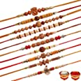 Tonkwalas Multicolor Combo of 10 Rakhi Set for Men With Roli Chawal Best Wishes Greeting Card