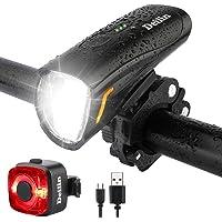 Deilin Upgraded LED Fahrradlicht Set, bis zu 70 Lux Fahrradlampe, Zugelassen USB Aufladbar Fahrradbeleuchtung, IPX5…
