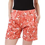 Fraulein Women's Colored Kitty Cat Print Beach Shorts Light and Smooth Blended Cotton Shorts Hot Pants Night Wear Lounge Shorts for Women Young Ladies and Girls