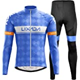 Lixada Completo Ciclismo Abbigliamento Set Uomo Inverno Termico Vello Maniche Lunghe Antivento Ciclismo Maglia Lunga e Pantal