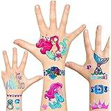 Glitter Mermaid Temporary Tattoos for Kids, Mermaid & Fake Jewelry Tattoos Sticker for Girls, Mermaid Party Favors Supplies f
