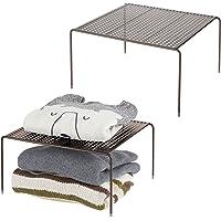 mDesign séparateur étagère pour garde-robe ou dressing (lot de 2) – organiseur d'armoire pratique en métal – aménageur…