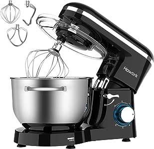 Impastatrice HOWORK, 1500W Impastatrice Planetaria, Robot da cucina grandi 6 velocità con ciotola in acciaio inossidabile da 6,2 litri, impastatrice da cucina (6,2 litri, nero)