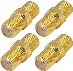 4x Profi F-Verbinder Buchse / Buchse von HB-DIGITAL aus Kupfer Vergoldet HQ breite Mutter für F-Stecker jeder Größe 4 - 8,2mm für Koaxial Antennenkabel Sat Kabel BK Anlagen