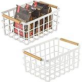 mDesign panier de rangement universel – panier en métal avec poignées en bambou pour la cuisine et le garde-manger – panier r