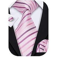 Barry.Wang - Cravatte da uomo formale, set di cravatte in seta con fazzoletto da polsino, per matrimonio