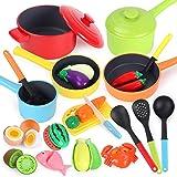 GILOBABY Cucina Giocattolo per Bambini,23 Pezzi Accessori Cucina Bambini,Frutta e Verdura Giocattolo da Tagliare ,Adatto per