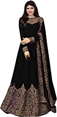 Royal Export Women's Heavy Georgette A-Line Long Party Wear Semi-Stitched Gown