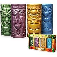 Mikamax – Tiki Mugs – Verres de bar Tiki – Ensemble de 4 tasses à Cocktail en Céramique – 29 x 8 x 15 cm – Party Tiki…