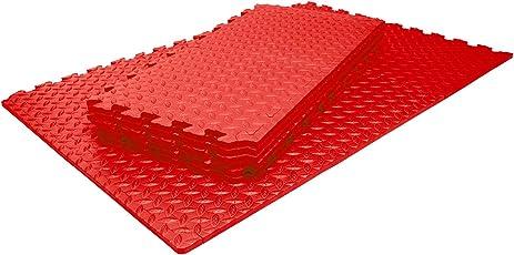 Schutzmatten Set von #DoYourFitness mit 18 Puzzlematten 6 Steckelementen á 30 x 30 x 1,2 cm (ca. 1,62m²) - Unterlegmatten / sicherer Bodenschutz für Sportgeräte, Gymnastikräume, Keller - Matten Schutz vor Kratzern, Dellen, Kälte, Lärm, Flüssigkeit / erhältlich in schwarz grün blau