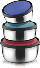 Classic Essentials CE1404 Stainless Steel Kiwi Bowl Set, 3-Pieces, Multicolour