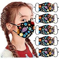 Modaworld 5pcs 𝐌𝐀𝐒𝐐𝐔𝐄 Unisexe Enfants Bandana de Visage imprimé Planet/Noël étanche à la poussière Lavable réutilisable…