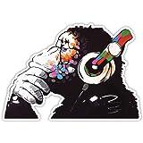 Banksy Denker Aap Hoofdtelefoon Ontwerp   Wall Art Graffiti Vinyl Sticker   Urban Art Window, Auto, Laptop Decal Medium - 10x