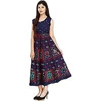 Jaitik Creations 100% Cotton Traditional Rajasthani Jaipuri Print One Piece Dress Multicolor JC_0672 Blue