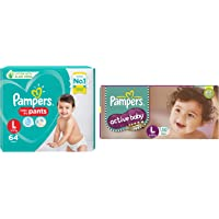 Pampers New Diaper Pants, Large, 64 Count & Pampers Active Baby Diapers, Large, 50 Count
