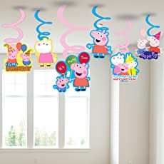 Party Propz Peppa Pig Hanging Swirls (Multicolour, PEPSW04) - Set of 6