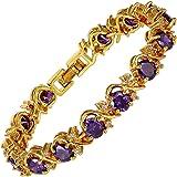 Gioielli Rotondi Taglio 5 Colori Scelto Gemstones Fine CZ 18K Oro Giallo Placcato [18cm / 7inch] Braccialetto da Tennis Moder