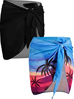 Donne Spiaggia Wrap Sarong,2 Pack Sarong Pareo da Spiaggia in Chiffon Donna Pareo Mare Chiffon Bikini Cover Up Coprire Gonne Avvolgent for Holiday Nuoto Nero+Rosso