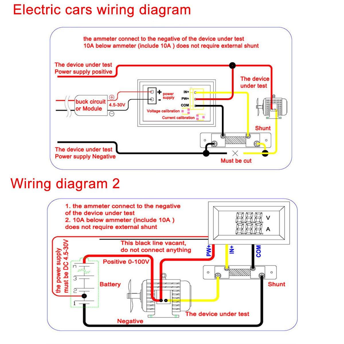 Drok Yb27va10a Digital Voltmeterammeter With Dual Display Dc 0100v10 Generic Wiring Diagram Yb27va 10a Voltmeter Ammeter 0 100v 10 Amp Red Blue
