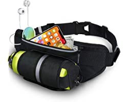 MYCARBON Running Belt with Water Bottle Holder Waterproof Bum Bag Cycling Waist Bag Jogging Belt Dog Walking Bag for Travel H
