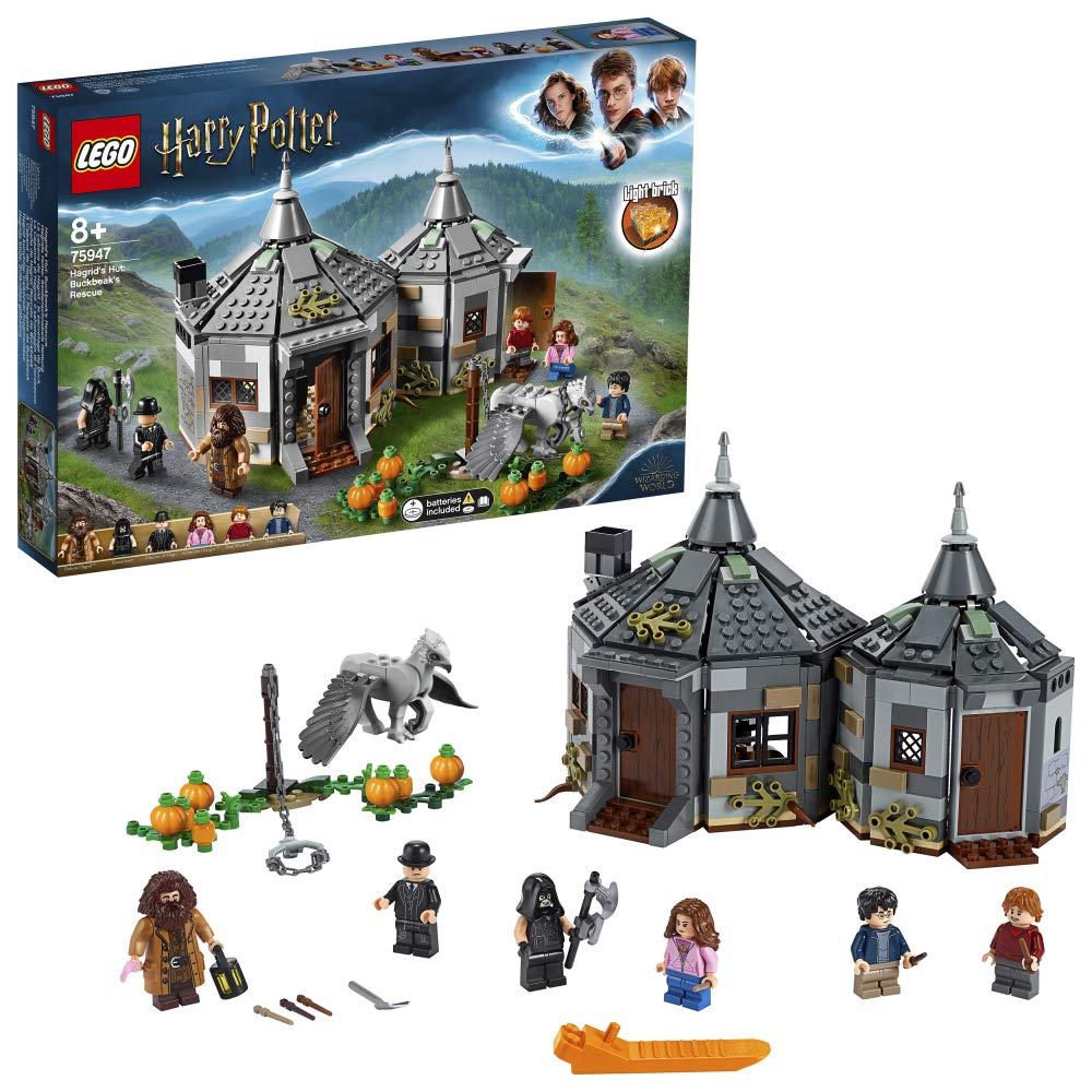 LEGO Harry Potter – Cabaña de Hagrid Rescate de Buckbeak, Juguete de Construcción con Hipogrifo, Incluye Minifiguras de Harry, Ron y Hermione (75947)