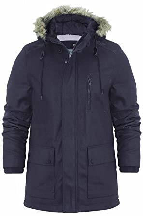ace00e20ff8d Mens Parka Jacket Dissident Magdala Wool Mix Hooded Fishtail Coat M-XXL   Amazon.co.uk  Clothing