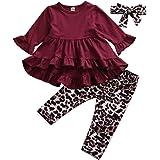 Conjuntos para Niña de Otoño Primavera Ropa para Niña 3 Piezas Camiseta Roja Manga Larga con Pantalones Estampado Leopardo y