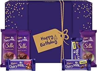 Cadbury Assorted Chocolates Gift Box with Happy Birthday Messaging Sleeve, 278 gm