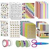 YXHZVON 49 Pièces Ensemble D'Accessoires de Scrapbooking, Coin Photo Autocollant Coloré Ruban Modèle de Dessin Ciseaux Access