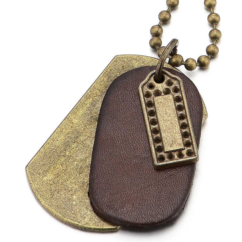 COOLSTEELANDBEYOND Punk Rock Metal and Brown Leather Dog Tag Pendant Necklace for Men Women with 28 Inches Ball Chain
