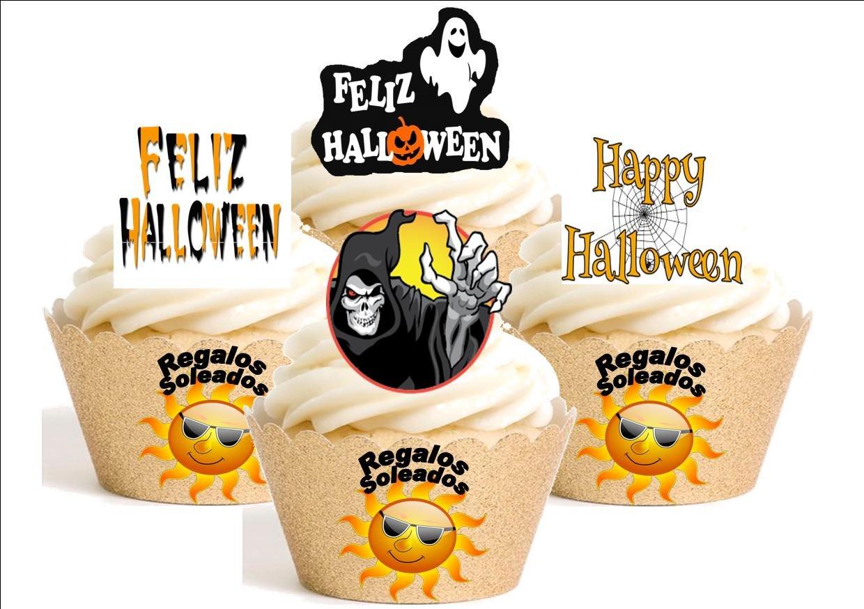 12x Happy Halloween misto Dibujos animados decorazione su carta commestibile personalizacion di