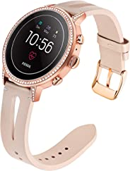 for Fossil Gen 4 Q Venture HR Women Bands, TRUMiRR 18mm Unique Genuine Leather Watchband Quick Release Strap Rose Gold Stain