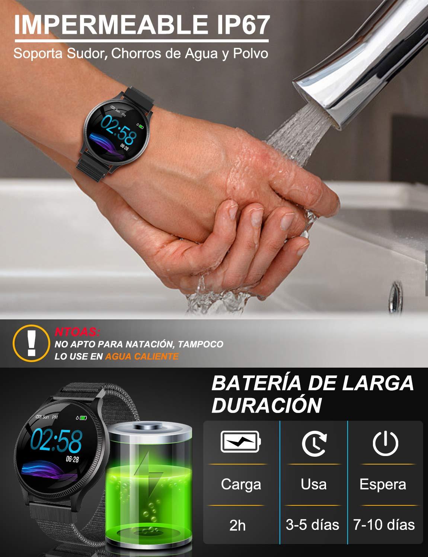 NAIXUES Smartwatch, Reloj Inteligente IP67 Pulsera Actividad Inteligente con Pulsómetro, Monitor de Sueño, Podómetro, Calorías Mujer Hombre para iOS y Android (Dorado) 6